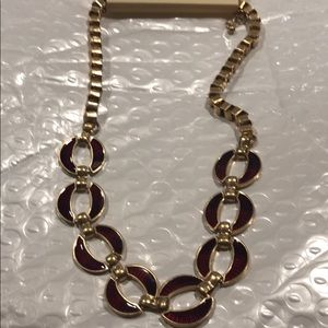 Red enamel and gold fashion necklace